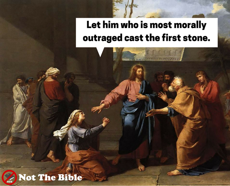 Jn 8:3-7 Casting stones at sinners (Not the Bible)